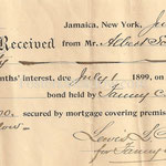 Interests for  6 months on mortgage - Albert Schmitt - Fosters Meadow - July 1, 1899