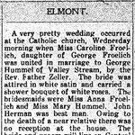 Hempstead Sentinel - Caroline Froelich Wedding - Jan 28, 1915