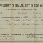 Department of Health, City of New York - Permission granted to keep 65 chickens - Albert Schmitt - Fosters Meadow -  April 17, 1901