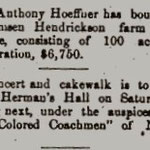 Hempstead Sentinel - Anthony Hoeffner's  New Farm and Herman's Hall - Oct. 1900