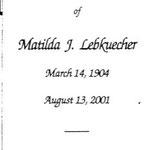 Lebkuecher, J. Matilda - 2001