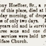 Hempstead Sentinel - Obituary: Anthony Hoeffner - Aug. 22, 1901