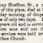 Hempstead Sentinel - Obituary: Anthony Hoeffner - Aug. 22, 1901