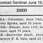 Hempstead Sentinel - George Bauer - Died - June 19 , 1919
