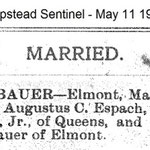 Hempstrad Sentinel -  Nellie Bauer Marriage Announcement - May 11, 1905