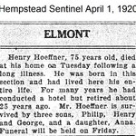 Hempstead Sentinel - Henry Hoeffner - Died-  April 1, 1920