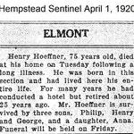 Hempstead Sentinel - Henry Hoeffner - Died-  April 1, 1920