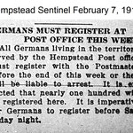 Hempstead Sentinel - Germans Must Register - Feb. 7, 1918
