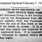 Hempstead Sentinel - Germans Must Register - Feb. 7, 1918
