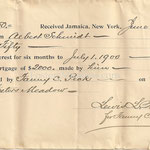 Interests for 6 months on mortgage  - Albert Schmitt - Fosters Meadow - June 30, 1900