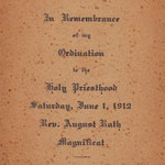 Rath, Rev. August - Ordination - June 1, 1912 - St. Boniface