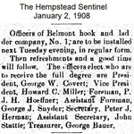 Hempstead Sentinel - Officers Belmont Fire Dept. - Jan. 2, 1908