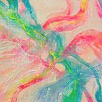 ≪そらに架ける花≫ 2014 パネル・綿布、アクリル 15.8×22.7㎝