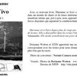 """Quelques toiles llustrent le recueil de textes de Marianne """"In vivo"""" aux éditions Unicité"""