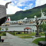 The Rallarvagen stops at Sognefjord at sea level. Proof: spot the cruise liner in the background