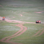 Mongolian countryside roads. Most of these earth tracks are now being replaced by paved roads