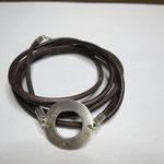 Männerarmband Leder mit Silberscheibe
