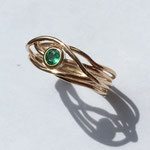 Verlobungsring  Roségold mit Smaragd