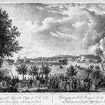 Cartolina rappresentate esercitazioni militari di attraversamento dell'Adige di truppe austiache al Lazzaretto Ottobre 1844