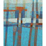 Blaue Felder, 100x80 cm, Acryl,Papier,Leinwand, 2008