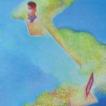 水辺の散歩 SM   22.7×15.8cm アクリル・油彩・キャンバス