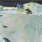 小屋のある風景  アクリル、油彩、綿布、パネル 162×110cm   2007(第16回青木繁記念大賞展 優秀賞)