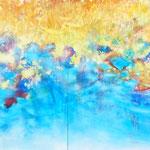 光を紡いで 132×648cm アクリル、キャンバス