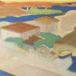 水辺のまち アクリル、油彩、綿布、パネル 60×110cm   2010