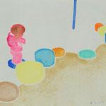 のぼっておりて 水彩、アクリル、紙 14×18cm 2015