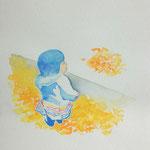 さんぽ -3 水彩、紙 18×14cm 2014