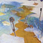 プラットホーム  アクリル、油彩、綿布、パネル 91×91cm   2010