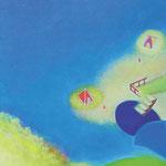 テントサイト SM号   22.7×15.8cm アクリル・油彩・キャンバス
