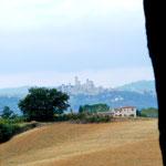 Im Hintergrund San Gimignano, unser Wanderziel