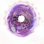 SPHERAGRANA  n°2, 2019 - acrilico su carta - 57x48cm