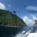 御蔵島を周回しながらイルカを探しにいきます。