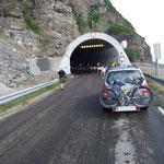 Rentierherde versperrt die Einfahrt in einen Tunnel