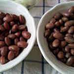左が金時豆、右がうずら豆