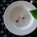 作家:yohaku 品名:pierce「麗しい果実」(イヤリング変更可、ただし、デザイン・素材違い(真鍮にゴールドメッキ)になります。) サイズ:モチーフ長さ約0.8cm 価格:4,320円(税込) 送料:一律500円(クロネコヤマトコンパクト利用) 素材:ピアス金具(14KGF→金属アレルギーの方ご注意)、ルビー、淡水パール、真鍮