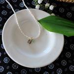 作家:yohaku 品名:necklace「rendez‐vous  -smoky quartz/blue opal-」 サイズ:長さ約41cm 価格:8,640円(税込) 送料:一律500円(クロネコヤマトコンパクト利用) 素材:金具(14KGF→金属アレルギーの方ご注意)、淡水パール、ヴェルメイユリング・ピン、スモーキークォーツ、ブルーオパール