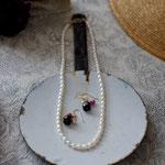 作家:yohaku 品名:necklace「petit bonheur -oeufs-」 サイズ:長さ約42cm 価格:8,640円(税込) 送料:一律500円(クロネコヤマトコンパクト利用) 素材:14Kgf金具、淡水パール *画像のピアスは別売りです。