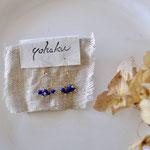 作家:yohaku 品名:pierce「sha・ra・ra -lapis-」(イヤリング変更可、ただし、デザイン・素材違い(真鍮にゴールドメッキ)になります。) サイズ:モチーフ約1.5cm 価格:6,480円(税込) 送料:一律500円(クロネコヤマトコンパクト利用) 素材:14kGF金具、ラピスラズリ、ヴィンテージシードビーズ