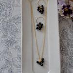 necklace&pierce「森のおたのしみ-obsidian-」setイメージ