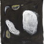 Begegnung ohne Folgen, 2018. Acryl-Cellulose auf Papier auf Leinwand. 110 x 100 cm.