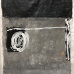 Very last information, 2020. Acryl-Cellulose auf Papier auf Leinwand. 117 x 100 cm.