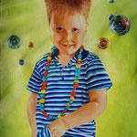 Jack met ketting - olieverf op canvas - 60x45cm - niet te koop