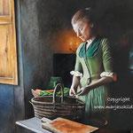 Jonge vrouw in het groen - olieverf op canvas - 65x50cm - te koop