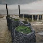 Zee strand Zoutelande - pastelpotlood op pastelmat - 28x35cm - te koop