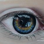 Studie van oog - pastelpotlood op pastelmat - 14x9cm - te koop