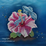 Vissen - pastelpotlood op pastelmat - 30x24cm - te koop