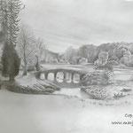 Stourhead estate - potlood op papier - 21x30cm - te koop